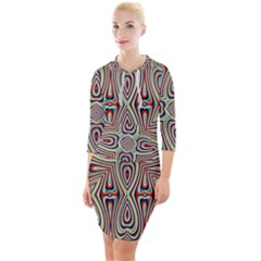 Background Image Color Colorful Quarter Sleeve Hood Bodycon Dress