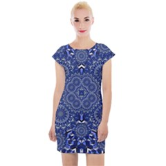 Farbenpracht Kaleidoscope Blue Cap Sleeve Bodycon Dress by Pakrebo