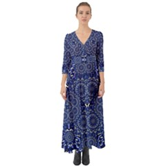 Farbenpracht Kaleidoscope Blue Button Up Boho Maxi Dress