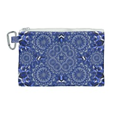 Farbenpracht Kaleidoscope Blue Canvas Cosmetic Bag (large)