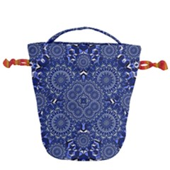 Farbenpracht Kaleidoscope Blue Drawstring Bucket Bag