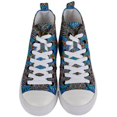 Tile Pattern Background Image Women s Mid Top Canvas Sneakers