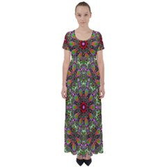 Fractal Image  Background High Waist Short Sleeve Maxi Dress by Pakrebo