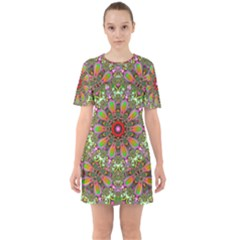 Fractal Image  Background Sixties Short Sleeve Mini Dress
