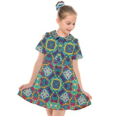 Farbenpracht Kaleidoscope Art Kids  Short Sleeve Shirt Dress