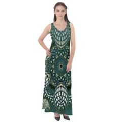 Background Image Decoration Sleeveless Velour Maxi Dress
