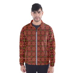 Tile Background Image Pattern Floral Windbreaker (men)