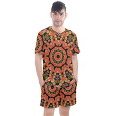 Background Pattern Structure Art Men s Mesh Tee And Shorts Set