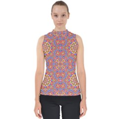 Background Image Structure Art Mock Neck Shell Top