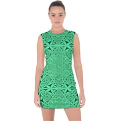 Triangle Background Pattern Lace Up Front Bodycon Dress