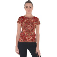 Tile Background Image Pattern 3d Red Short Sleeve Sports Top  by Pakrebo