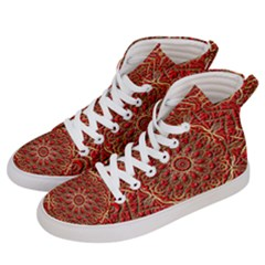 Tile Background Image Pattern 3d Red Women s Hi Top Skate Sneakers by Pakrebo