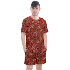 Tile Background Image Pattern 3d Red Men s Mesh Tee And Shorts Set