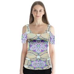 Ornament Kaleidoscope Butterfly Sleeve Cutout Tee