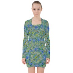 Farbenpracht Kaleidoscope V Neck Bodycon Long Sleeve Dress