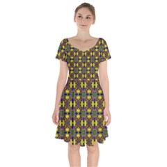Background Image Ornament Short Sleeve Bardot Dress