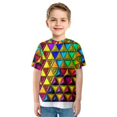 Cube Diced Tile Background Image Kids  Sport Mesh Tee