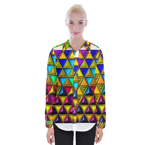 Cube Diced Tile Background Image Womens Long Sleeve Shirt by Pakrebo