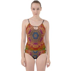 Background Image Decorative Cut Out Top Tankini Set