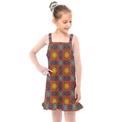 Tile Background Image Decorative Kids  Overall Dress