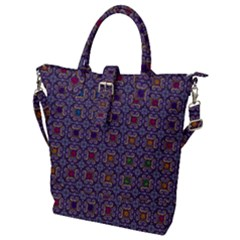 Tile Background Image Pattern Buckle Top Tote Bag