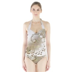 Flora Flowers Background Leaf Halter Swimsuit by Mariart