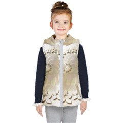Flora Flowers Background Leaf Kids  Hooded Puffer Vest