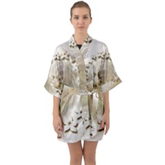Flora Flowers Background Leaf Quarter Sleeve Kimono Robe by Mariart