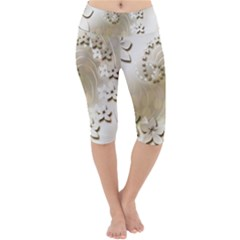 Flora Flowers Background Leaf Lightweight Velour Cropped Yoga Leggings by Mariart