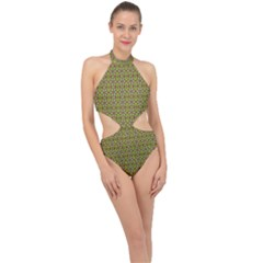 Background Image Pattern Halter Side Cut Swimsuit