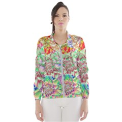 Dahlia Flower Colorful Art Collage Windbreaker (women)