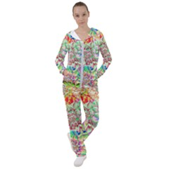 Dahlia Flower Colorful Art Collage Women s Tracksuit