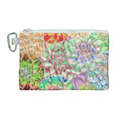 Dahlia Flower Colorful Art Collage Canvas Cosmetic Bag (large)
