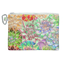 Dahlia Flower Colorful Art Collage Canvas Cosmetic Bag (xl) by Pakrebo