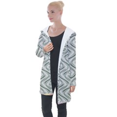 Abstract Geometric Line Art Longline Hooded Cardigan