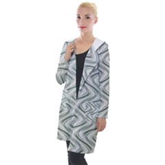 Abstract Geometric Line Art Hooded Pocket Cardigan