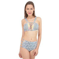 Abstract Geometric Line Art Cage Up Bikini Set