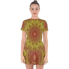 Background Fractals Surreal Design Drop Hem Mini Chiffon Dress