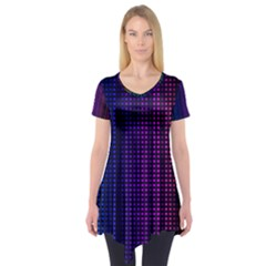 Abstract Background Plaid Short Sleeve Tunic