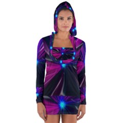 Abstract Background Lightning Long Sleeve Hooded T Shirt