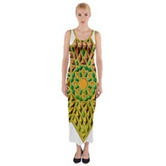 Star Pattern  Background Image Fitted Maxi Dress