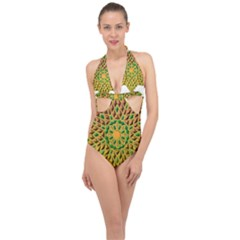Star Pattern  Background Image Halter Front Plunge Swimsuit