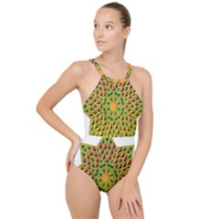 Star Pattern  Background Image High Neck One Piece Swimsuit
