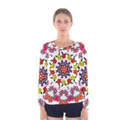 Tile Background Image Color Pattern Flowers Women s Long Sleeve Tee