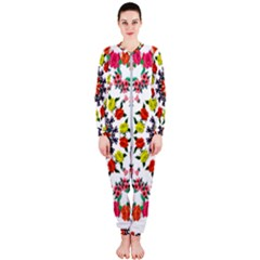Tile Background Image Color Pattern Flowers Onepiece Jumpsuit (ladies)