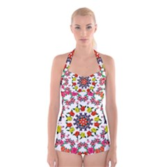 Tile Background Image Color Pattern Flowers Boyleg Halter Swimsuit