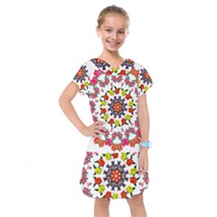 Tile Background Image Color Pattern Flowers Kids  Drop Waist Dress