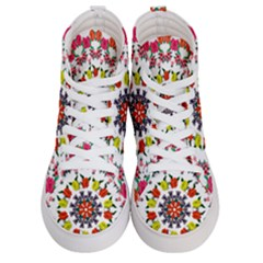 Tile Background Image Color Pattern Flowers Women s Hi Top Skate Sneakers