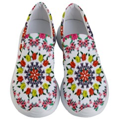 Tile Background Image Color Pattern Flowers Women s Lightweight Slip Ons
