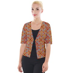 Tile Background Image Pattern Cropped Button Cardigan by Pakrebo